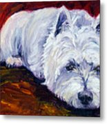 Fire Glow - West Highland White Terrier Metal Print by Lyn Cook