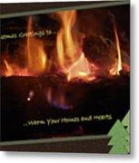 Fireside Christmas Greeting Metal Print