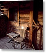 Firewood And A Chair On The Porch Metal Print