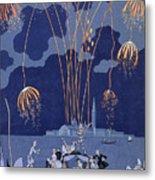 Fireworks In Venice Metal Print