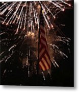 Fireworks With Flag Metal Print by Alan Look