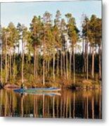 Fisherman On Evening Lake Metal Print