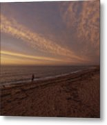 Fishermen Fishing In The Surf At Sunset Metal Print
