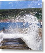 Fishing Beyond The Surf Metal Print by Terri Waters