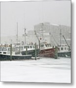 Fishing Boats During Winter Storm Sandwich Cape Cod Metal Print