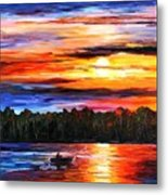 Fishing By Sunset Metal Print