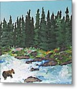 Fishing In Yellowstone National Park Metal Print