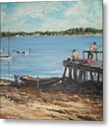 Fishing Off The Docks At Point Judith R.i. Metal Print