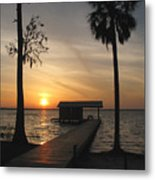 Fishing Pier At Dusk Metal Print