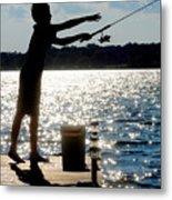 Fishing Silhouette Metal Print