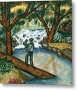 Fishing The Sunny River Metal Print