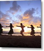 Five Hula Dancers At Sunset At The Beach At Palauea Metal Print by David Olsen