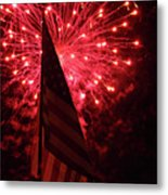 Flag And Fireworks Metal Print