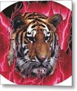 Flame Tiger Metal Print
