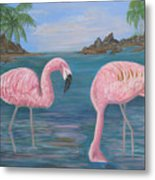Flamingo Cove Metal Print