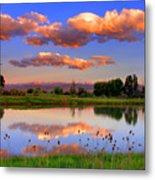 Floating Clouds And Reflections Metal Print