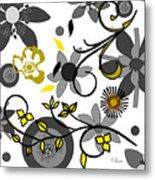 Floral Collision Metal Print
