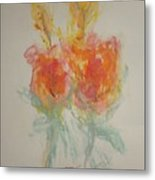 Floral Study In Pastels O Metal Print