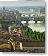 Florence. View Of Ponte Vecchio Over River Arno. Metal Print