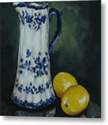 Flow Blue And Lemons  Metal Print