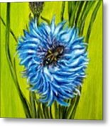 Flower And Bee Oil Painting Metal Print