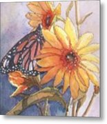 Flower And Monarch Metal Print