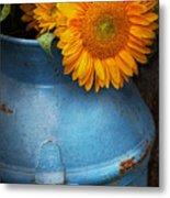 Flower - Sunflower - Little Blue Sunshine  Metal Print