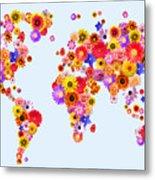 Flower World Map Metal Print