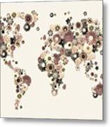 Flower World Map Sepia Metal Print