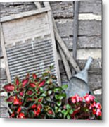 Flowers And Plants In Wash Tub Metal Print