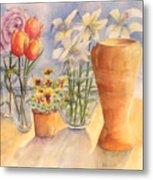 Flowers And Terra Cotta Metal Print
