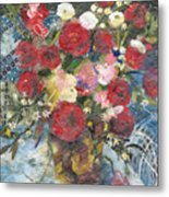Flowers In A Basket Metal Print
