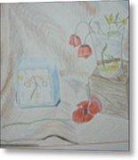 Flowers In Glass. Color Pencils 1992 Metal Print