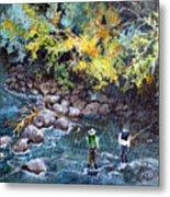 Fly Fishing Metal Print by Linda Shackelford