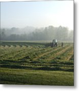 Foggy Morning Field Metal Print