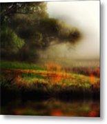 Foggy Morning Mill Pond Metal Print