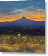 Foggy Portland City Downtown At Dawn Metal Print