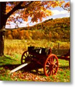 Foliage And Old Wagon Metal Print