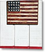 Folk Art American Flag On Wooden Wall Metal Print by Garry Gay