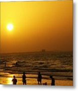 Football And Sunset At The Beach Metal Print