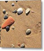 Footprint On Sand Metal Print