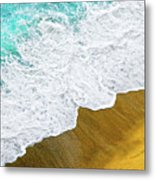Footsteps In The Sand Hopelessly Facing The Rising Tide  Metal Print