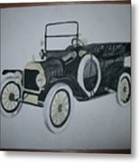Ford Modl T 1a Original Watercolor Painting By Pigatopia Metal Print