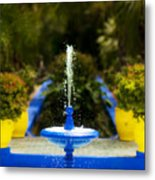 Fountain In Jardin Majorelle Morocco Metal Print