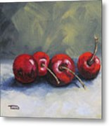 Four Cherries Metal Print