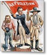 Free Silver Cartoon, 1896 Metal Print