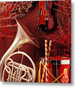 French Horn Christmas Still Life Metal Print by Garry Gay