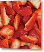 Fresh Cut Strawberries Metal Print