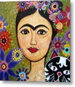 Frida Kahlo And Cat Metal Print