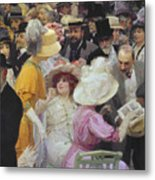 Friday At The French Artists Salon Metal Print by Jules Alexandre Grun